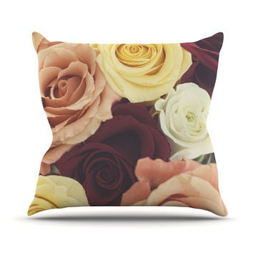 "Libertad Leal ""Vintage Roses"" Throw Pillow"