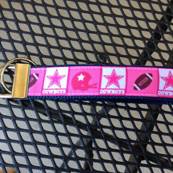 Pink Dallas Cowboys Keychain Wristlet by SweetKeeps on Etsy
