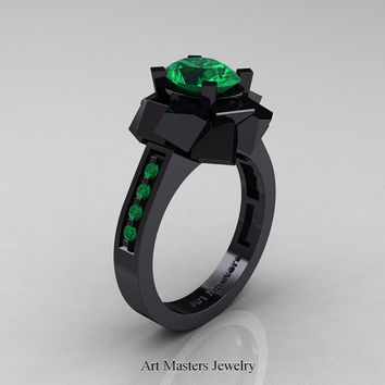 New Modern 14K Black Gold 1.0 Ct Oval Emerald Engagement Ring AR136-14KBGEM