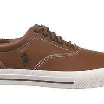 Polo Ralph Lauren Mens Vaughn Casual Sneakers Tan Soft leather