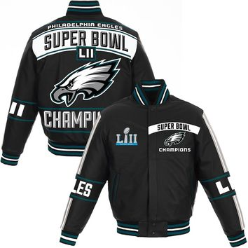 Men's Philadelphia Eagles NFL Pro Line by Fanatics Branded Black Super Bowl LII Champions Full-Snap Leather Jacket