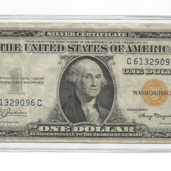 Series of 1935A US One Dollar Bill Silver Certificate Yellow Seal  Emergency Note Paper Money Currency Issued During WWII  North Africa