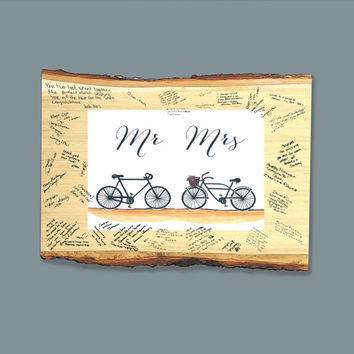 Personalized Wooden Plaque Guest Sign In - Tandem Wedding Bicycle Guest Book Wooden Tree Slice For The Bride and Groom