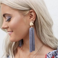 Full Moon Contemporary Slate Gray Fringe Earrings