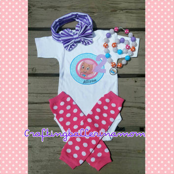 Bubble Guppies Birthday Personalized Girl Shirt Onesuit - Molly - Oona - First Birthday - Second Birthday - Headband - Tutu