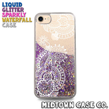 Henna Tattoo Line Art Flowers Cute Pretty Cool Liquid Glitter Waterfall Quicksand Sparkles Glitter Bomb Bling Case for iPhone 7 7 Plus 6s 6