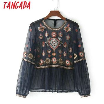 Tangada Floral Embroidery Transparent Blouse For Women Long Sleeve vintage Pleated Sexy Shirt Boho Style Shirt Mesh Top BE31