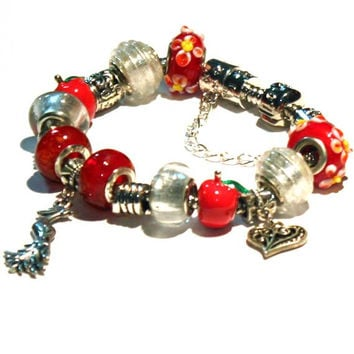 Paradise Charm Bracelet. A perfect gift idea for Teenagers, girls, girlfriend, woman, sweet sixteen, mother. Red Bracelet. A day in Paradise
