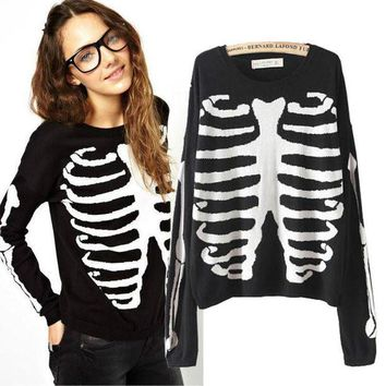 DCCKUNT Cool Skull Printed Long Sleeve Sweater Pullovers