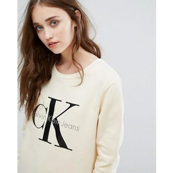 Day-First™ Calvin Klein Printed Womens Casual Long Sleeve Pullovers Sweaters Yellow