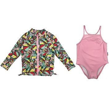 "Girl One-Piece Swimsuit and Long Sleeve Rash Guard Set UPF 50+ | ""Butterfly Dreams"""