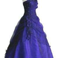 Faironly One Shoulder Girl's Formal Prom Gown Ball Quinceanera Dress (XS, Navy Blue)