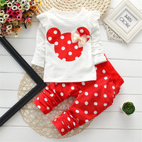 new Spring Autumn children girls clothing sets minnie mouse clothes bow tops t shirt leggings pants baby kids 2 pcs suit