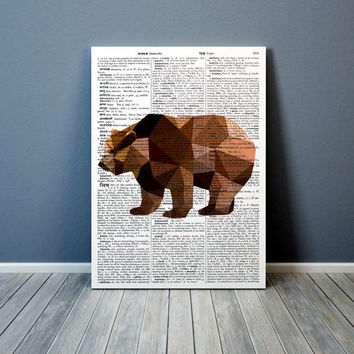 Colorful decor Geometric bear poster Animal art Grizzly print TO304