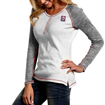 Antigua Philadelphia 76ers Womens Celebrity Burnout Long Sleeve Thermal Top - Gray/Red