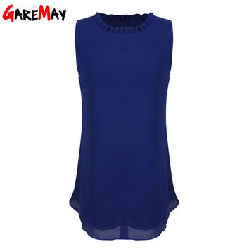 GAREMAY Women Chiffon Blouse Summer Sleeveless Camisa Candy Tops Femme Casual Fungus Collar Plus Size Cheap Clothes China 0098