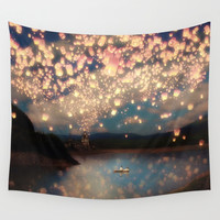 Love Wish Lanterns Wall Tapestry by Paula Belle Flores