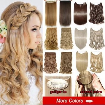 "20/24/26"" Women Fashion Long Straight Curly Invisiable Secret Wire Hairpiece And Clip In Hair Extensions"
