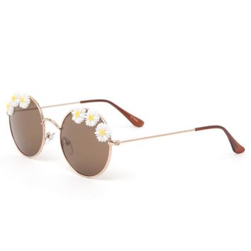 With Love From CA Daisy Round Sunglasses - Womens Sunglasses - Gold - One