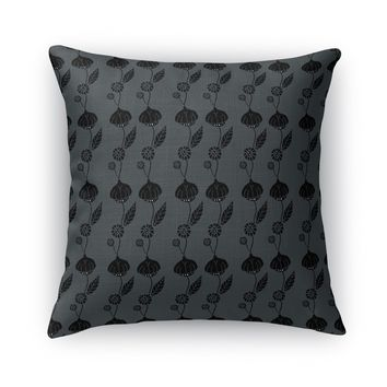 AN ELEGANT TRAIL OF FLOWERS, DARK Accent Pillow By Heidi Miller