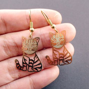 Adorable Kawaii Striped Kitty Cat Cut Out Shaped Dangle Earrings in Gold | DOTOLY