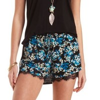 Lace-Trim Floral Chiffon Shorts by Charlotte Russe