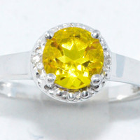 1 Carat Yellow Citrine Diamond Ring .925 Sterling Silver Rhodium Finish White Gold Quality