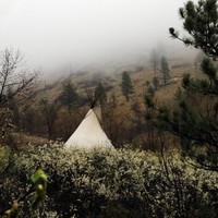 Tipi in Chokecherry Blossoms . 8x8 square photograph