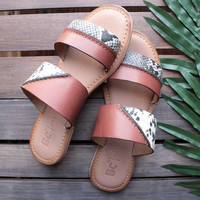 bc footwear - on the spot whiskey slip on sandals with exotic print