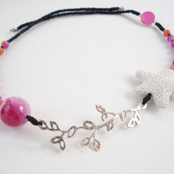 Santorini Lava Necklace-Volcanian Star Bead-Metal Leaf-Modern Necklace-Silver Fuchsia Druzy Agate- Fuchsia Faceted Ball 20mm Striped Agate