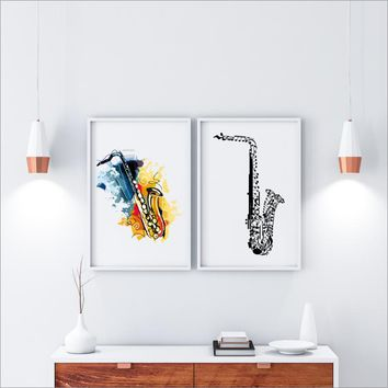 Musical Instrument Saxophone Canvas Art Print Poster Wall Picture , Jazz Music Canvas Poster Home Musical Decoration