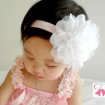 Large White Chiffon Lace flower puff headband