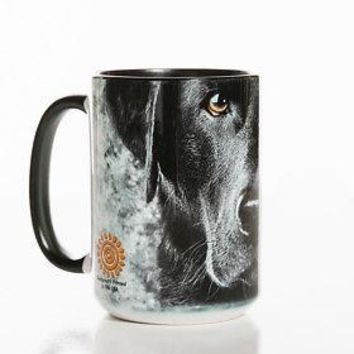 New BLACK LAB FACE 15 OZ CERAMIC COFFEE MUG   the mountain