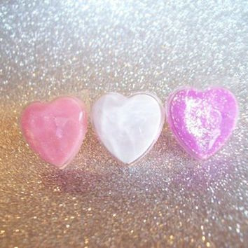 Sweet Pastel Glitter Resin Heart Ring from On Secret Wings