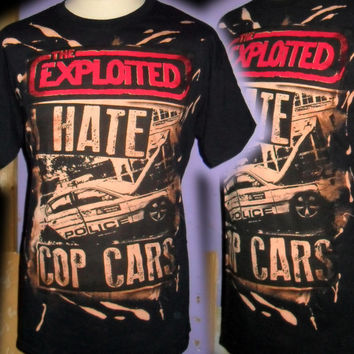 THE EXPLOITED i hate cop cars  100% unique punk  t shirt size LARGE  hand printed and painted by bad clown clothing