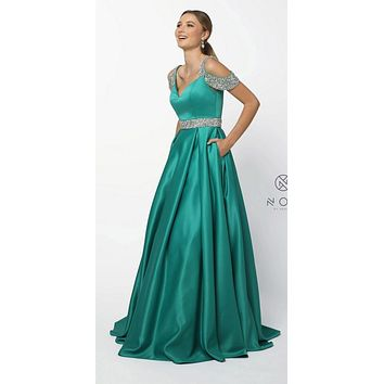 Embellished Cold-Shoulder Long Prom Dress with Pockets Green