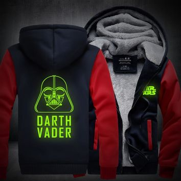 2017 New Star Wars Hoodie Darth Vader Jedi knight Winter Thicken Hooded Zipper Mens Sweatshirts Hot Sale USA EU size Plus size