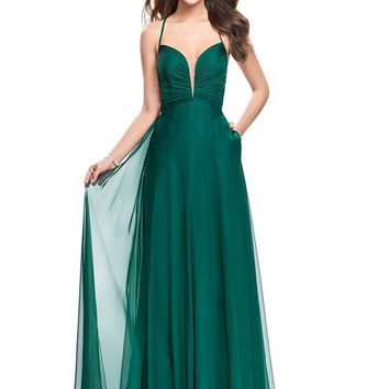 La Femme - 26190 Plunging V-neck Chiffon A-line Dress