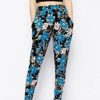 Blue Retro Floral Print Pants