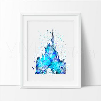 Cinderella Castle 5 Watercolor Art Print