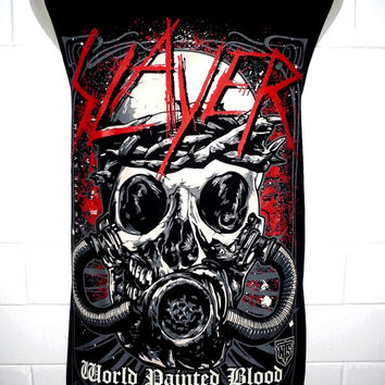 Slayer world blood Girl Rock Band Music Metal T Shirt Tank Top Singlet Vest Sleevless One Size Fits All