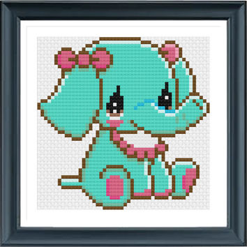 Baby Elephant KT4867, Cross Stitch Pattern, Small Cross Stitch, Counted Cross Stitch, Animal Cross Stitch, Easy Cross Stitch