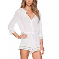 White Cutout Lace Sleeve Button Drawstring Waist Romper