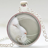 White Cat Necklace, Cat Art Pendant, White Cat Jewelry, Cat Photo Necklace, Your Choice of Finish (342)
