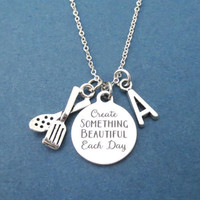 Personalized, Letter, Initial, Create SOMETHING BEAUTIFUL Each Day, Cooking, Tong, Silver, Necklace, Cook, Gift, Jewelry