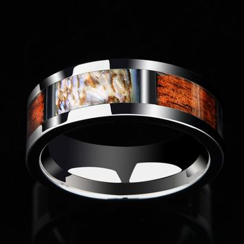 High Polished Men's Tungsten Ring with Abalone and Shells Inlay