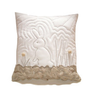 Bunny Pillow Cover / white - beige - machine quilt /