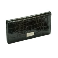 Kenneth Cole Black Slim Croc Clutch
