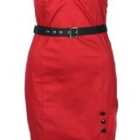 Lindy Bop 'Dolores' Red Vintage 1950'S Sweetheart Neckline Pinup Pencil Wiggle Dress