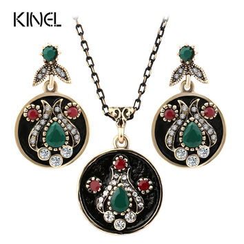 Fashion Vintage Jewelry Sets Gold Color Austrian Crystal Round Drop Earrings And Pendant Necklace Set For Women